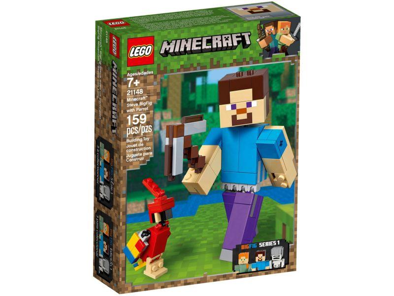 LEGO Minecraft 21148 BigFig Steve met papegaai